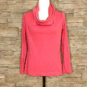 Jersey by Jacob coral cowl-neck top